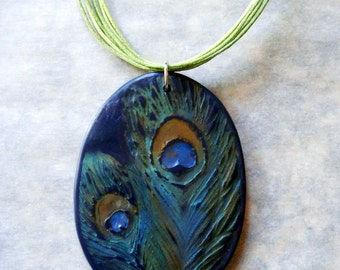 Distressed Peacock Feathers Necklace, Handmade, Polymer Clay Necklace, Necklace, Peacock, Jewelry, Hand Painted, Gift for Her, Mom Gift
