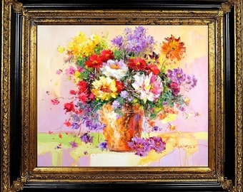 Signed E.Colton French Impressionist Painting Flower Bouquet Still Life Framed Oil On Canvas