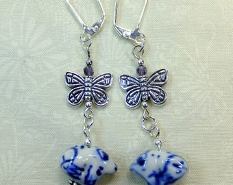 Chinese Hand painted Blue and White Ceramic Frogs with Pewter Butterfly Charms Dangle Earrings