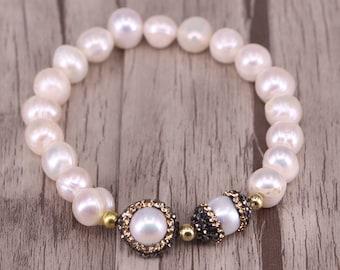 Freshwater Pearl Beaded Bracelet, Pave Diamond Pearl Spacer Beads Bracelet for Women Jewelry
