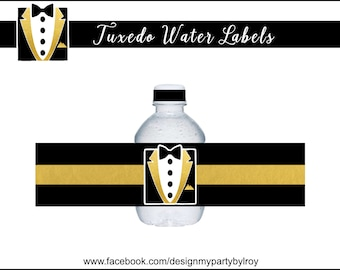 TUXEDO WATER LABELS, Instant Download Labels, Black and Gold Labels, Black Bow Tie, Black and White Tuxedo, Groom Shower, Bridal Shower.