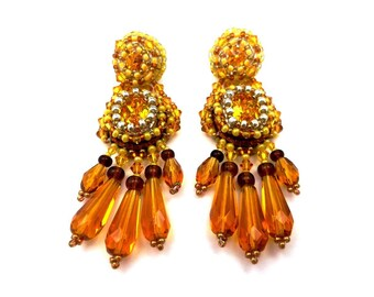 Embroidered, Stud Earrings in shades of yellow, Baroque Crystal silver