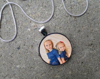 """Personalized Photo 1"""" Glass Tile Necklace  - Makes a great gift"""