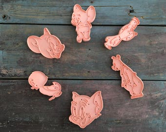 "Vintage Loew's Incorporated ""MGM Cartoon"" Solid Pink Plastic Cookie Cutters~Tom and Jerry (1956)~Set of 6"