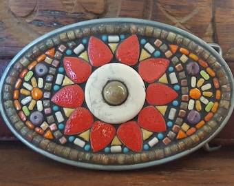 Mosaic Belt Buckle with flower