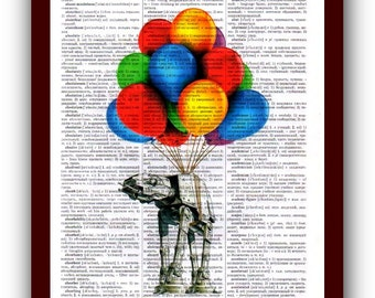 Star Wars Poster ATAT with balloon Art Print  : upcycled  dictionary pages  Art Print Wall Decor