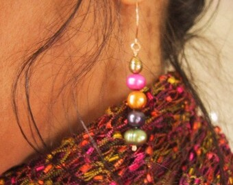 Rainbow of colors fresh water pearl gold earrings