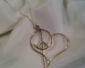 Sterling Silver Necklace- Peace, Love, & Harmony  - Valentine