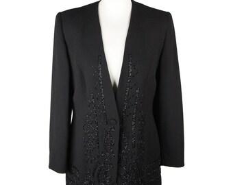 MY GALLERY Vintage Black Embellished Evening Jacket Beads SIZE 44