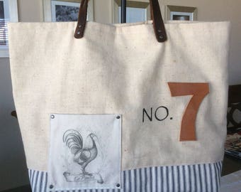 Vintage Grain Sack Tote, Tote Bag, Hand Bag, Book Bag, Library Bag, Cotton Ticking French Tote,