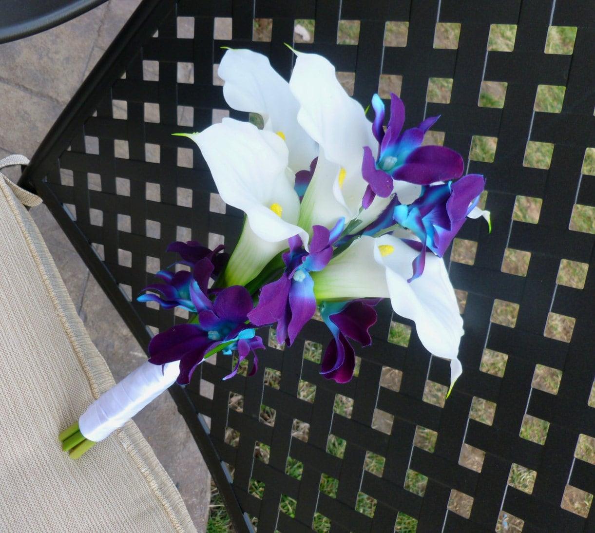 Calla lily purple blue orchid bouquet bridesmaids bouquet