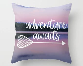 Adventure Awaits Pillow Covers 18 x 18 Pink Woodland Nursery Decor Girl, Arrow Home Decor, Minnesota Gifts, Boundary Waters Gift for Her