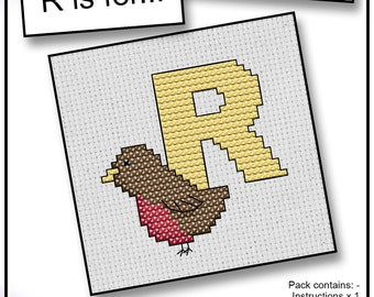 R is For... Robin Mini Alphabet Cross Stitch Kit with DMC Thread, 5x5 cm