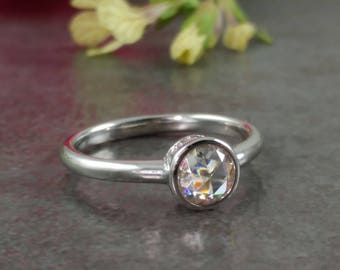Rose Cut Moissanite Engagement Ring - 14K White, Rose, or Yellow Gold - Simple Wedding Ring - Petite Engagement Ring
