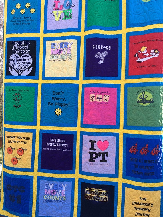 T-Shirt Quilt Framed Borders (DEPOSIT), Traditional Quilt with Framed Blocks, T Shirt Quilt, Custom TShirt Quilt