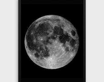 MOON PRINTABLE | Black Moon Print | Moon Wall Art | Moon Wall Print | Digital Moon Print | Full Moon | Moon Printable