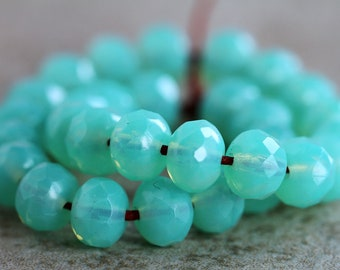 Opal Chrysoprase Czech Rondelle Beads, Fire Polished beads, facetted glass donut beads, 5x7mm, (30pcs)