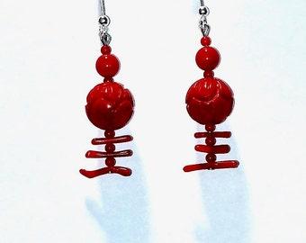 Carved Red Coral Earrings, coral, silver earrings, gemstone, dangle earrings, boho, drop earrings, statement earrings, gift for her, gift