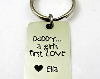 Daddy Gift from Daughter,  A Girl's First Love Key Chain,  Fathers Day Gift, Daddy gift from girl, Christmas Gift  - Personalized