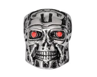 Gents Terminator Robot Red Eyes Ring Stainless Steel Motorcycle Jewelry
