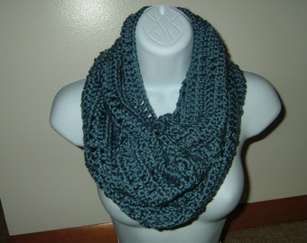 Hand Crocheted Cozy Cowl Infinity Scarf~Country Blue