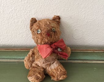 vintage early 1930s brown mohair teddy bear with bell collar