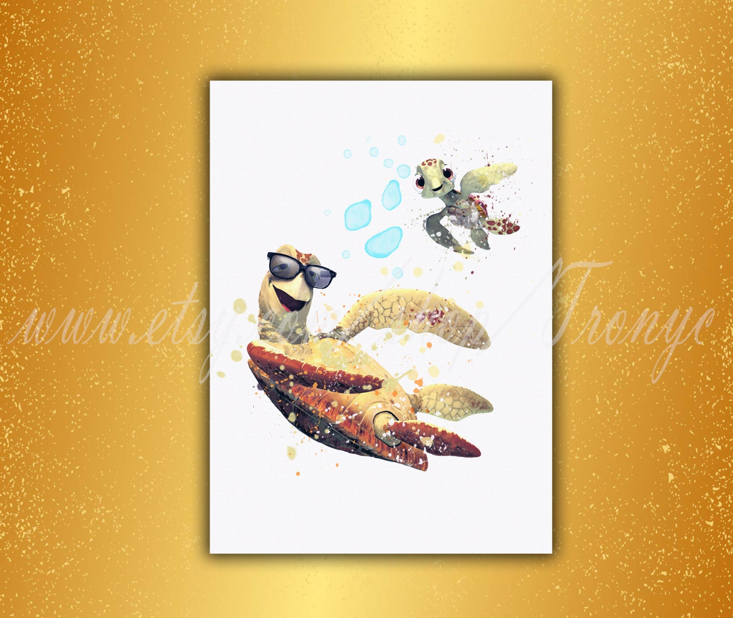 Finding Dory poster Father and son Disney kid art Turtle