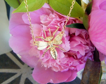 Bee Necklace The Bees Knees Vintage Brass Bee Necklace
