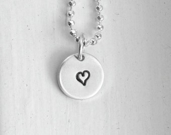 Tiny Heart Necklace, Sterling Silver Jewelry, Tiny Heart Pendant, Hand Stamped Jewelry, Charm Necklace, Tiny Heart Charm