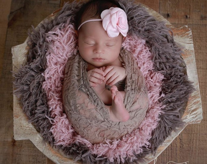 Stretch Lace Wrap in Taupe AND/OR Matching Satin Rose Headband, newborn photo shoots, bebe foto, by Lil Miss Sweet Pea