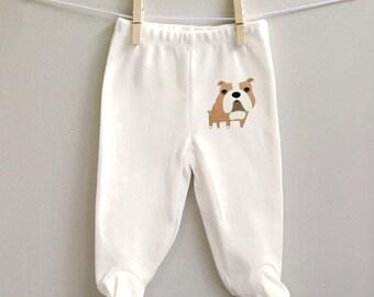 Baby pants, bulldog baby pants, footed baby pants