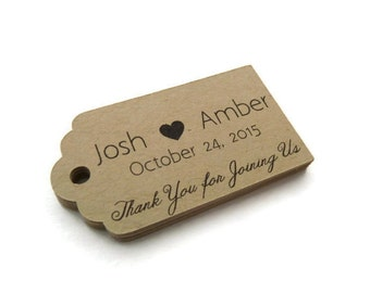 Custom Wedding Favor Tags - Personalized Tag - Thank You Tag - 50 Count - 2.25 x 1.25 inch - Kraft Tags  - Wedding Tags - Scallop Tag