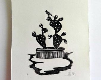 "Original Handmade Linocut Print, 6.5"" x 9"", Small size art, black ink, minimal art, cactus, bird, wall decor, hand pulled, block print"