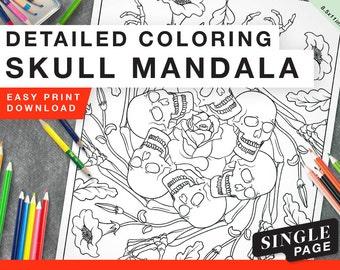 Printable Coloring Page for Grownups - Skull Mandala Fall Single