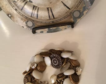 Upcycled, Repurposed Vintage Button/Charm Bracelet