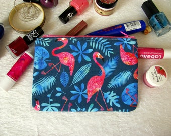 Zippered pouch with flamingos, makeup bag, phone case, purse