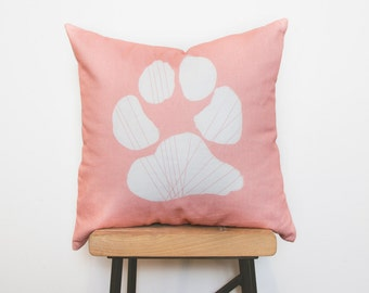 Pink nursery dog paw pillow cover - Ready to ship