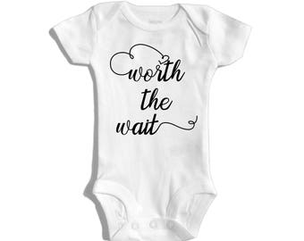 Worth the wait - IVF pregnancy announcement - Rainbow baby announcement - Miracle baby - Adoption announcement - Coming home outfit