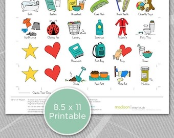 Boy - CHORE CHART MAGNETS - Basics - Chore Chart - Make Your Own - Printable // Instant Download