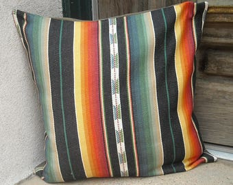 Southwestern Pillow Cover. 16 x 16 to 24 x 24. soft woven, free trade cotton fabric. Serape design