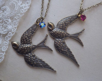 Bird Necklace ~ Boho Style ~ Bird Pendant ~ FREE SPIRIT ~ Swallow ~ Graduation Gift ~ Antiqued Bronze ~ Birthstone Jewelry ~ by WakesTheDawn