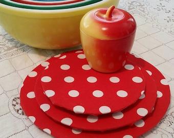 Pyrex Bowl/stacking/display solution/red & white polkadots