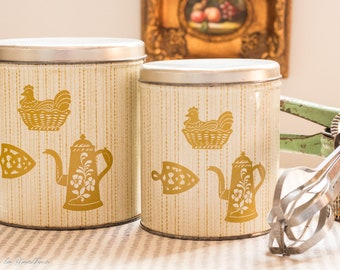 Kitschy Decoware Kitchen Canisters with Farmhouse chicken