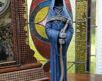 Grim Reaper Figure, Hand Painted Ceramic Figurine / Halloween Decoration