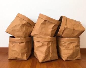 Storage Basket No.10 : Kraft Paper Storage /Kitchen Basket /Laundry Bag /Eco Bag /Paper Bag /Paper Basket /Stationary /Washable Paper Bag