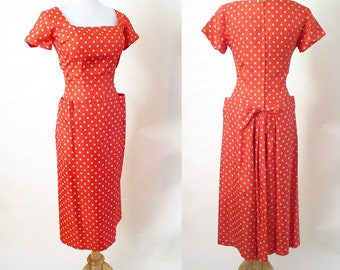 """Sassy 1950's Silk Polka-dot  Dress with """"Fish Tail"""" VLV Rockabilly Vintage Dead Stock Party Cocktail Dress Pinup Girl Chic Size-Small/Medium"""