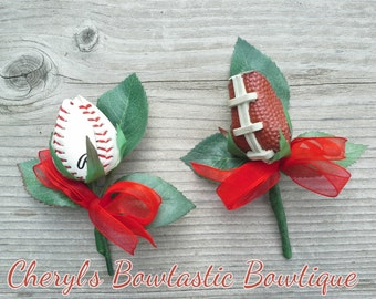 Real Baseball/Football Rose Boutonniere made from a Real Ball, Men's Corsage, Boutonniere for men Only, Wedding Boutonniere.