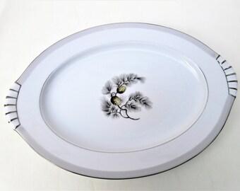 Vintage Oval Platter | Serving Tray | 15 Inch Platter | Kent China | Serving Platter | Silver Pine | Oval Serving Plate | Turkey Platter