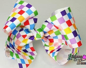 "Girls JoJo inspired Grid pattern Rainbow 7"" handmade Hair Bow Clip"