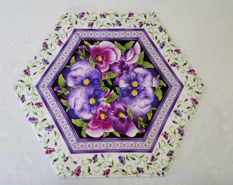 Small Purple Pansy Flowered Quilted Table Runner Topper